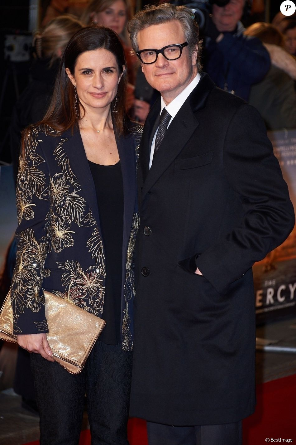 """Colin Firth et sa femme Livia - Première du film """"Mercy"""" à Londres le 6 février 2018."""
