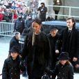 Céline Dion, son fils René-Charles Angélil et sa mère Thérèse Dion - Obsèques nationales de René Angélil en la Basilique Notre-Dame de Montréal, le 22 janvier 2016. © Dominique Jacovides/Bestimage