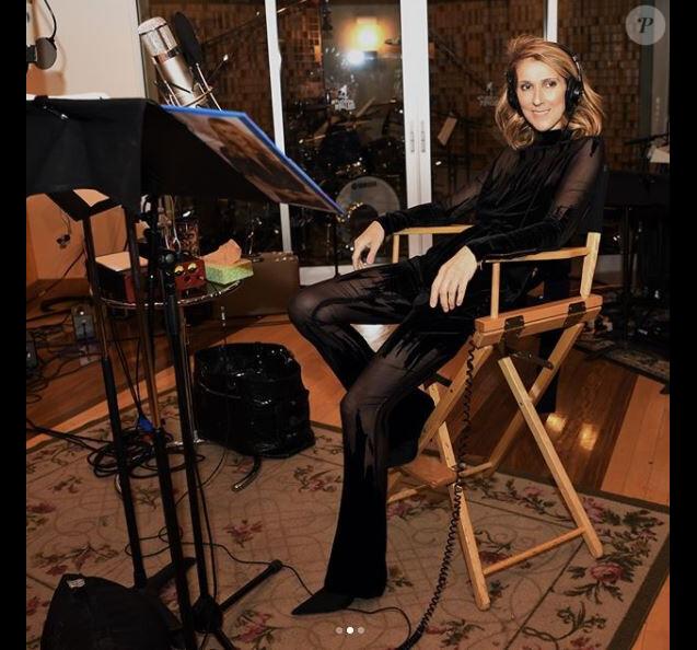 Céline Dion en studio, en novembre 2017. Photo de Denise Truscello