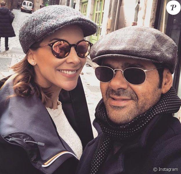 Mélissa Theuriau et Jamel Debbouze visitent Lyon pendant la tournée de l'humoriste, en représentation dans toute la France. Photo publiée le 28 mars 2018 sur Instagram.
