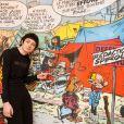 """Exclusif - Théo Fernandez pose devant la statue de Gaston Lagaffe ainsi qu'au centre belge de la Bande Dessinée pour la promotion du film """"Gaston Lagaffe"""" à Bruxelles, le 20 mars 2018."""
