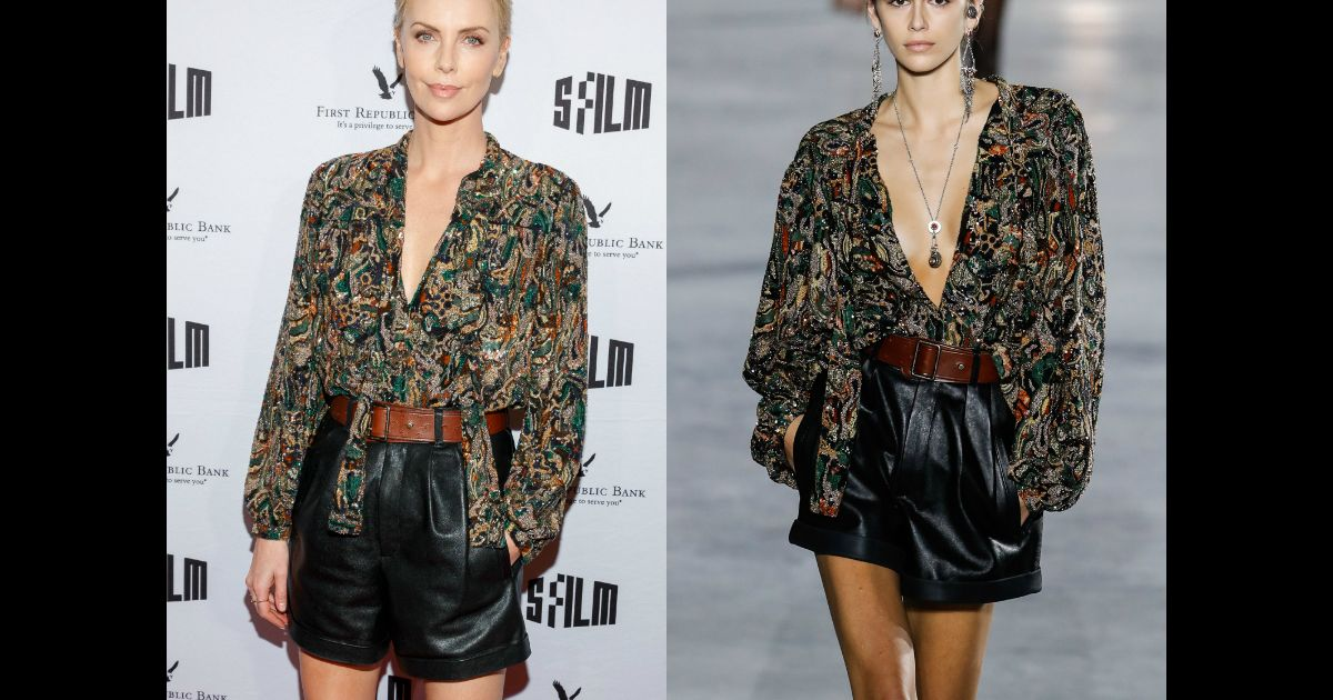 charlize theron habill e en saint laurent collection printemps t 2018 une tenue port e par. Black Bedroom Furniture Sets. Home Design Ideas