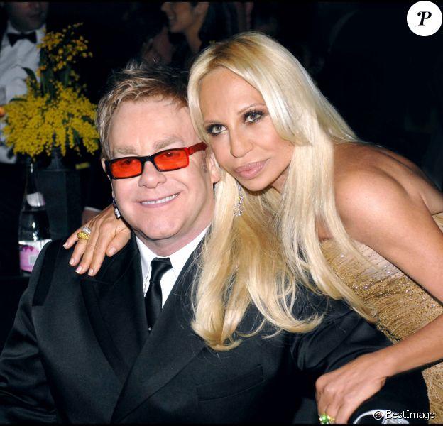 Elton John et Donatella Versace. Los Angeles, février 2007.