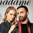 """Emma Stone et Nicolas Ghesquière en couverture de """"Madame figaro"""", en kiosques le 13 avril 2015."""