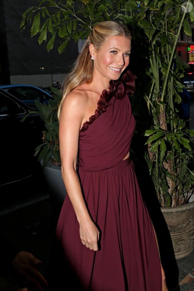Gwyneth Paltrow arrive à une soirée qui est censé être son mariage avec son fiancé Brad Falchuk à Los Angeles le 14 avril 2018