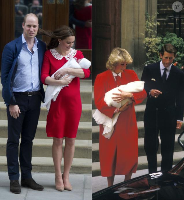 La duchesse Catherine de Cambridge (Kate Middleton), avec le prince William et leur troisième enfant devant l'aile Lindo de l'hôpital St Mary à Londres le 23 avril 2018. 34 ans plus tôt, le 15 septembre 1984, la princesse Diana (Lady Di) et le prince Charles avec le prince Harry, au même endroit. Photos Bestimage, photomontage Purepeople.