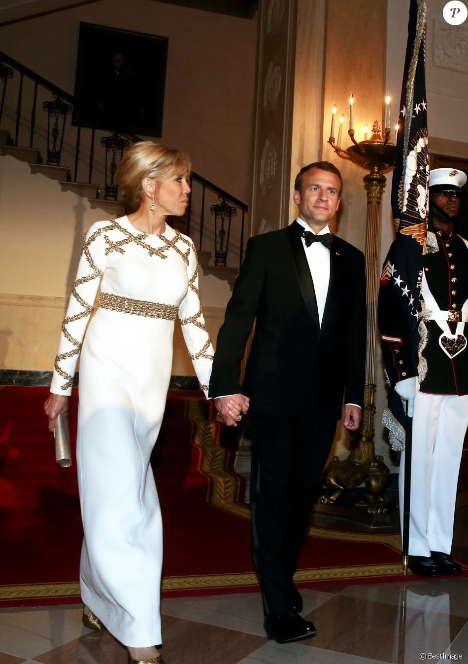 Le président de la république française emmanuel macron et sa femme la première dame brigitte macron