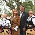 Exclusif - Christian Estrosi (le maire de Nice) et sa femme Laura Tenoudji - Christian Estrosi (le maire de Nice) et sa femme Laura Tenoudji ont fêté en famille le 1er mai dans les jardins de Cimiez pour la Fête des Mai à Nice, le 1er mai 2018. © Bruno Bebert/Bestimage