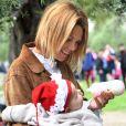 Exclusif - Laura Tenoudji et sa fille Bianca - Christian Estrosi (le maire de Nice) et sa femme Laura Tenoudji ont fêté en famille le 1er mai dans les jardins de Cimiez pour la Fête des Mai à Nice, le 1er mai 2018. © Bruno Bebert/Bestimage