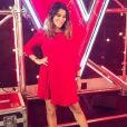"Karine Ferri, enceinte, en robe rouge Claudie Pierlot lors de l'émission ""The Voice"" du 28 avril 2018. Photo publiée sur Instagram."