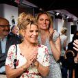 """Exclusif - Laura Tenoudji, la femme de C.Estrosi, le maire de Nice, Philippe Sollers et sa femme, Julia Kristeva pendant la 2ème édition du """"Prix littéraire de la Petite Maison"""" à Nice, France, le 5 mai 2018. N.Rubi a décidé de créer """"Le Prix de la Petite Maison"""" qui vise à récompenser un auteur pour un roman paru dans l'année. Le jury, présidé par P.Besson, a décerné le Prix de la Petite Maison 2018, au roman """"Centre"""" de P.Sollers. © Bruno Bebert/Bestimage05/05/2018 - Nice"""