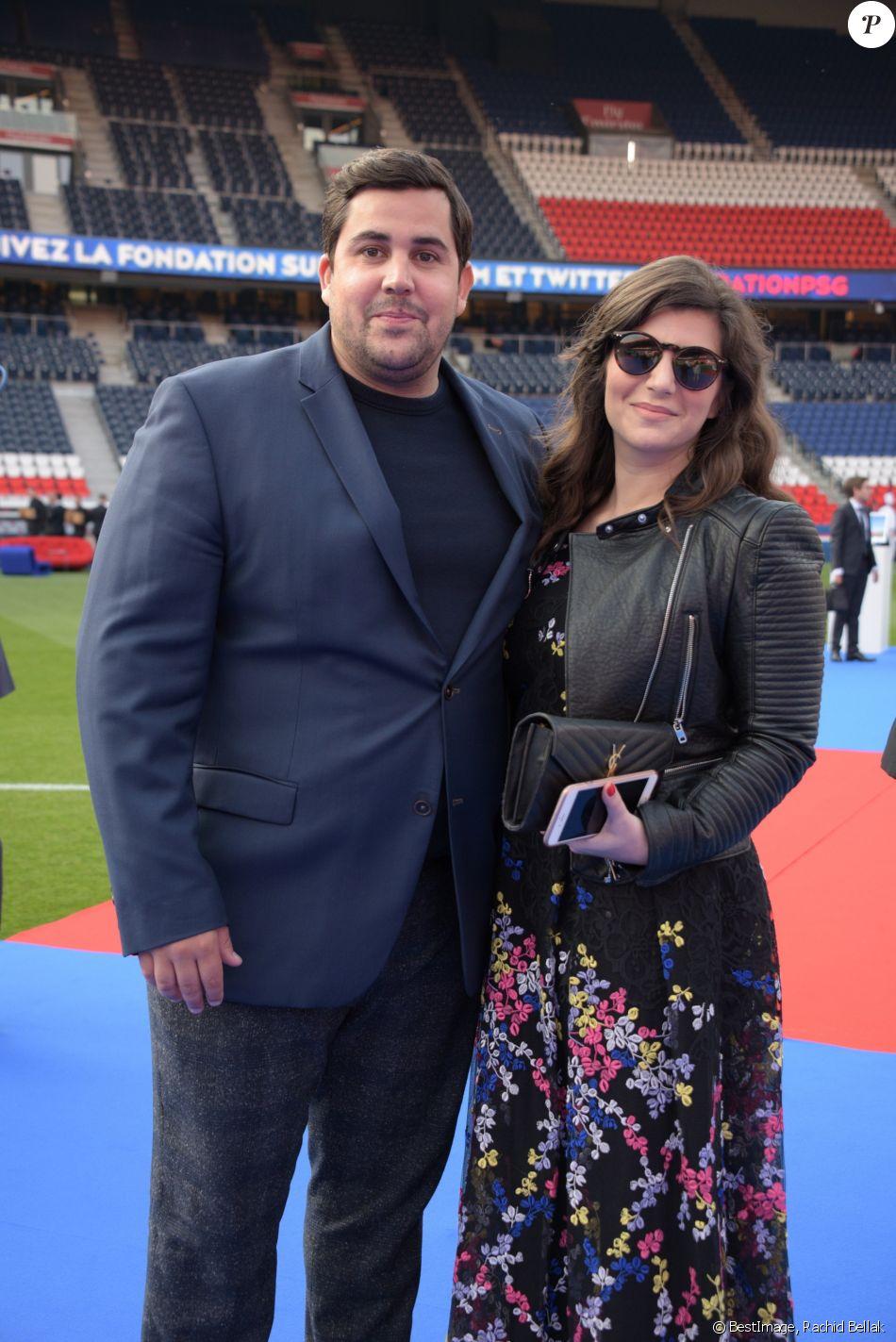 Exclusif - Artus et sa compagne Sarah Nasrallah au 5ème dîner de gala de la fondation Paris Saint-Germain au parc des Princes à Paris, France, le 15 mai 2018.