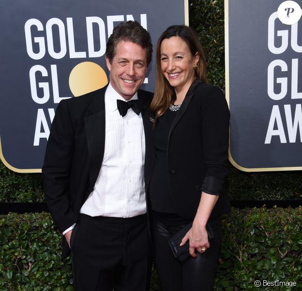 Info - Hugh Grant va se marier avec Anna Eberstein - Hugh Grant et sa compagne Anna Eberstein enceinte sur le tapis rouge de la 75ème cérémonie des Golden Globe Awards au Beverly Hilton à Los Angeles, le 7 janvier 2018. © Chris Delmas/Bestimage