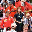 Geri Halliwell félicite les 3 premiers pilotes du 76ème Grand Prix de Monaco le 27 mai 2018. © Bruno Bebert/Bestimage