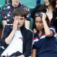 Leïla Kaddour et son compagnon Pierre Guénard (Radio Elvis) dans les tribunes des internationaux de Roland-Garros, à Paris, le 30 mai 2018. © Cyril Moreau - Dominique Jacovides/Bestimage