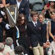 Isabelle Huppert - People dans les tribunes des Internationaux de France de Tennis de Roland Garros à Paris. Le 9 juin 2018 © Cyril Moreau / Bestimage