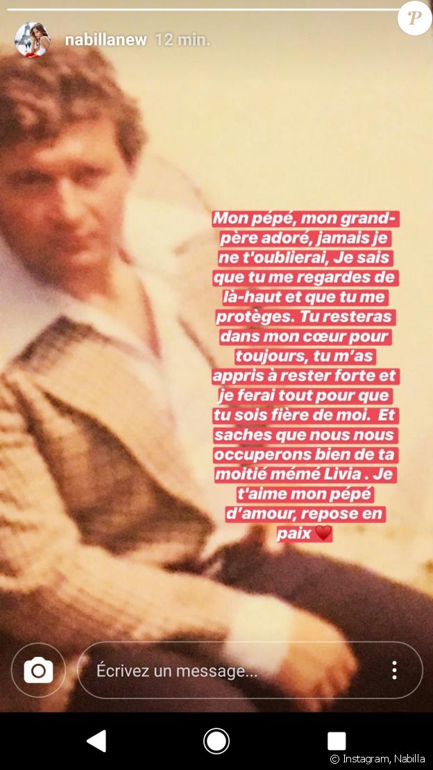 Nabilla Benattia rend hommage à son grand-père - Instagram, 13 juin 2018