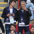 Nagui, Jean-François Piège et Bruno Guillon - Célébrités dans les tribunes lors du match de coupe de monde de la France contre l'Australie au stade Kazan Arena à Kazan, Russie, le 16 juin 2018.