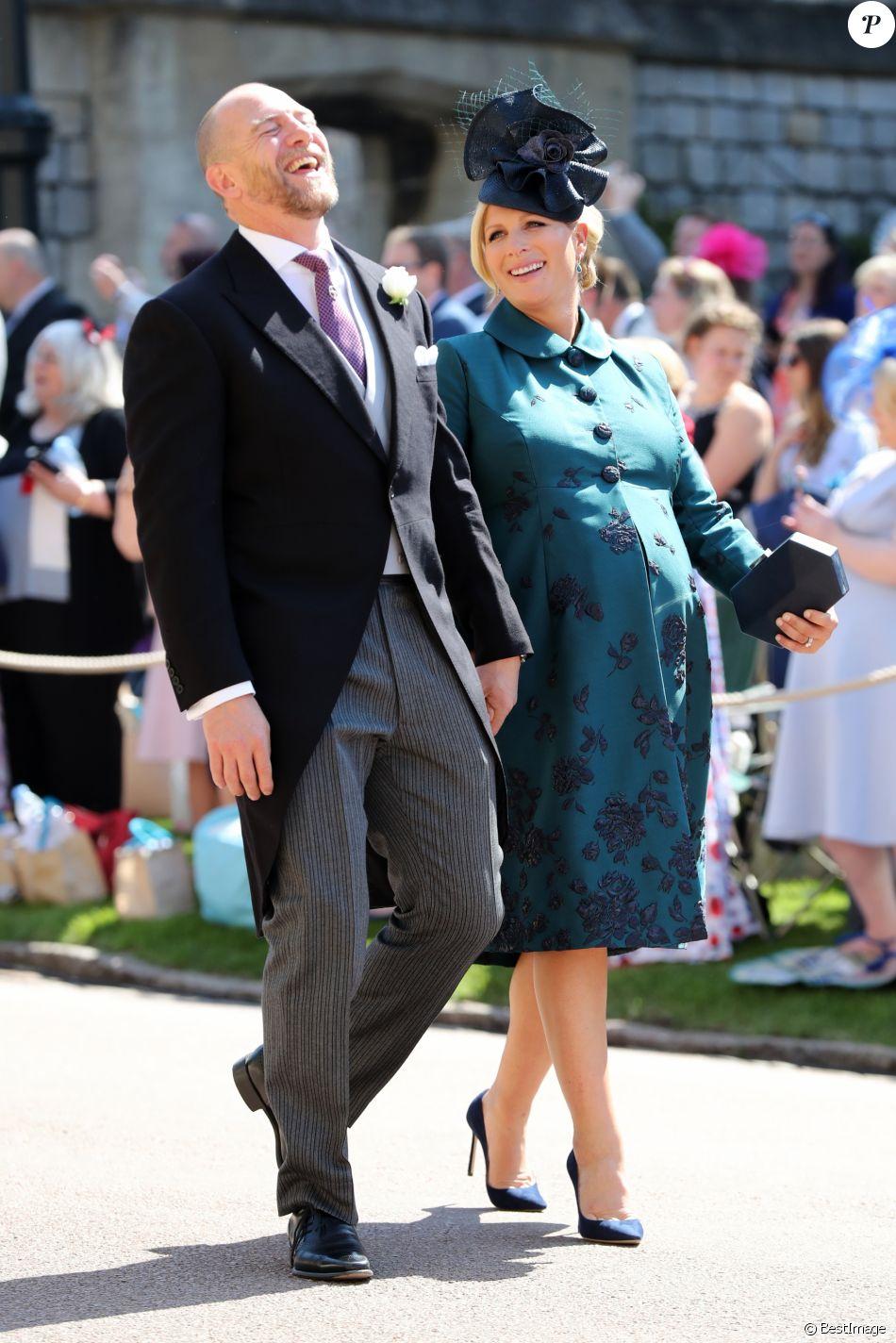 Mike Tindall et sa femme Zara Phillips Tindall, alors enceinte de leur fille Lena, au mariage du prince Harry et de Meghan Markle le 19 mai 2018 à Windsor.