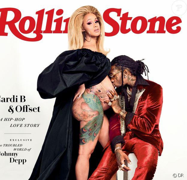Cardi B, enceinte et son mari Offset en couverture de Rolling Stone. Juin 2018.