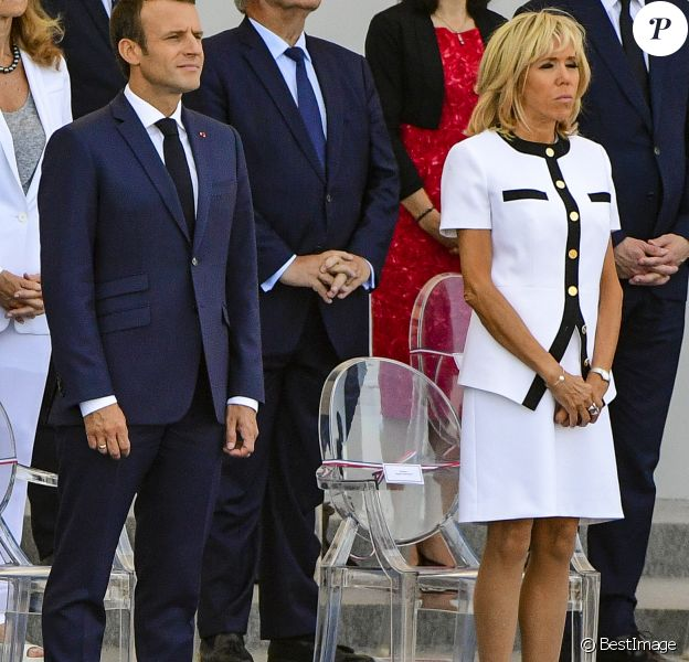 Brigitte Macron et Emmanuel Macron - Défilé militaire du 14 Juillet sur les Champs-Elysées à Paris © Pierre Perusseau / Bestimage