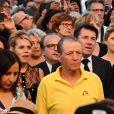 Christian Estrosi, le maire de Nice et sa femme Laura Tenoudji durant le concert du 14 juillet 2018 à Nice en hommage aux victimes de l'attentat du 14 juillet 2016 suivi d'un lâché de ballons et de l'allumage des 86 faisceaux lumineux depuis la Promenade des Anglais, symbolisant chacune des victimes. © Bruno Bebert/Bestimage