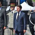 Edouard Philppe, le premier ministre, et Christian Estrosi, le maire de Nice, durant la cérémonie du 14 juillet 2018 sur la place Masséna à Nice en hommage aux victimes de l'attentat du 14 juillet 2016. © Bruno Bebert / Bestimage