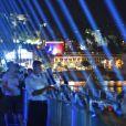 Les 86 faisceaux lumineux projetés dans le ciel depuis la Promenade des Anglais, symbolisant chacune des victimes, après le concert du 14 juillet 2018 à Nice en hommage aux victimes de l'attentat du 14 juillet 2016 suivi d'un lâché de ballons. © Bruno Bebert/Bestimage