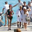Exclusif - Will Smith, Jada Pinkett Smith et leurs enfants Jaden et Willow réunis en vacances sur un yacht au large de Capri en Italie, le 19 juillet 2018.