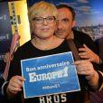 Exclusif - Laurence Boccolini et Nikos Aliagas - Les journalistes et chroniqueurs souhaitent un bon anniversaire à Europe 1 à l'occasion de la journée spéciale des 60 ans de la radio à Paris. Le 4 février 2015