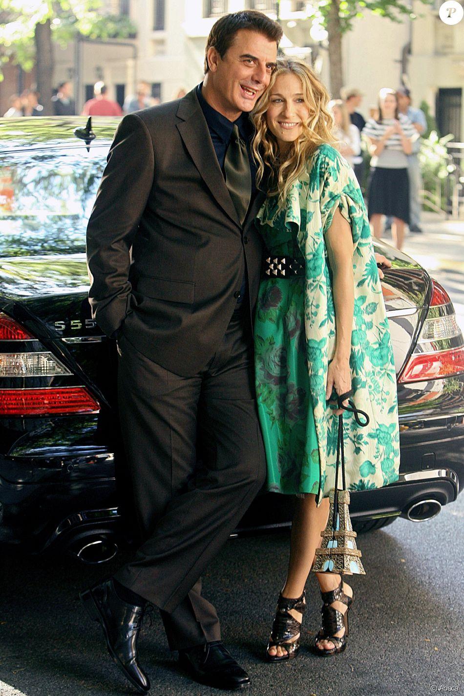 """Sarah Jessica Parker et Chris Noth sur le tournage du film """"Sex and The City"""" à New York en 2007."""