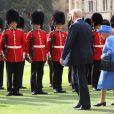 La reine Elizabeth II lors de la revue de la garde d'honneur le 13 juillet 2018 au château de Windsor à l'occasion de la venue du président Donald Trump.