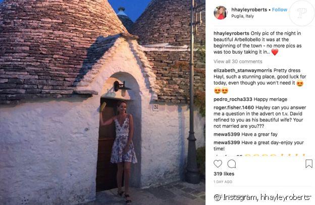 """Hayley Roberts et David Hasselhoff viennent de se dire """"oui"""" en Italie, ce 31 juillet 2018."""