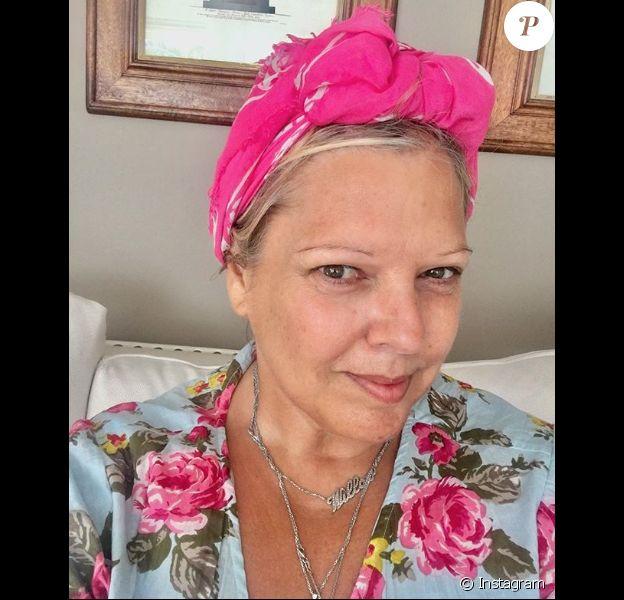 Laurence Boccolini sans maquillage et amincie en vacances, le 14 août 2018.