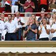 Vadim Vasilyev, le vice président de l'AS Monaco, Ludovic Giuly, Didier Deschamps, Nagui, Cyril Rool, leurs femmes au second rang Mélanie Page, Claude Deschamps et des amis durant le Match de football de Ligue 1 opposant Monaco à Lille au stade Louis II le 18 août 2018.