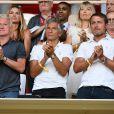 Didier Deschamps, Nagui, Cyril Rool, leurs femmes au second rang Mélanie Page, Claude Deschamps et des amis durant le Match de football de Ligue 1 opposant Monaco à Lille au stade Louis II le 18 août 2018.