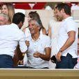 Ludovic Giuly, Didier Deschamps, Nagui, Cyril Rool, leurs femmes au second rang Mélanie Page, Claude Deschamps et des amis durant le Match de football de Ligue 1 opposant Monaco à Lille au stade Louis II le 18 août 2018.