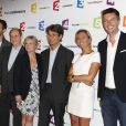 Matthieu Noël, Pierre Lescure, Anne-Elisabeth Lemoine, Bruno Patino, Anne-Sophie Lapix et Maxime Switek lors de la conférence de presse de rentrée de France Télévisions au Palais de Tokyo à Paris, le 26 août 2014.