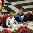 La reine Margrethe II de Danemark, la Première Dame Brigitte Macron (Trogneux), le prince Frederik de Danemark, Françoise Nyssen - Dîner d'Etat donné au château de Christiansborg en l'honneur de la visite du président de la République française et sa femme la Première Dame à Copenhague, Danemark, le 28 août 2018.
