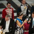 Bruno Le Maire, ministre de l'Economie et des Finances, la princesse Mary de Danemark, le président de la République française Emmanuel Macron et la reine Margrethe II de Danemark - Dîner d'Etat donné au château de Christiansborg en l'honneur de la visite du président de la République française et sa femme la Première Dame à Copenhague, Danemark, le 28 août 2018.