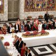 La princesse Marie de Danemark, guest, Bruno Le Maire, ministre de l'Economie et des Finances, la princesse Mary de Danemark, le président de la République française Emmanuel Macron, la reine Margrethe II de Danemark, la Première Dame Brigitte Macron (Trogneux), le prince Frederik de Danemark, Françoise Nyssen, ministre de la Culture, le prince Joachim de Danemark et Nathalie Loiseau, ministre des Affaires Européennes - Dîner d'Etat donné au château de Christiansborg en l'honneur de la visite du président de la République française et sa femme la Première Dame à Copenhague, Danemark, le 28 août 2018. © Dominique Jacovides/Bestimage  State dinner at Christiansborg Palace in Copenhagen, Denmark, on August 28, 2018.28/08/2018 - Copenhague