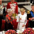 La reine Margrethe II de Danemark, la Première Dame Brigitte Macron (Trogneux) et le prince Frederik de Danemark - Dîner d'Etat donné au château de Christiansborg en l'honneur de la visite du président de la République française et sa femme la Première Dame à Copenhague, Danemark, le 28 août 2018. © Dominique Jacovides/Bestimage