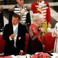 Le président de la République française Emmanuel Macron, la reine Margrethe II de Danemark, la Première Dame Brigitte Macron (Trogneux) et le prince Frederik de Danemark - Dîner d'Etat donné au château de Christiansborg en l'honneur de la visite du président de la République française et sa femme la Première Dame à Copenhague, Danemark, le 28 août 2018. © Dominique Jacovides/Bestimage