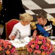 La Première Dame Brigitte Macron (Trogneux) et le prince Frederik de Danemark - Dîner d'Etat donné au château de Christiansborg en l'honneur de la visite du président de la République française et sa femme la Première Dame à Copenhague, Danemark, le 28 août 2018. © Dominique Jacovides/Bestimage