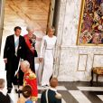 La reine Margrethe II de Danemark, le président de la République française Emmanuel Macron et sa femme la Première Dame Brigitte Macron (Trogneux) - Arrivées au dîner d'Etat donné au château de Christiansborg en l'honneur de la visite du président de la République française et sa femme la Première Dame à Copenhague, Danemark, le 29 août 2018. © Dominique Jacovides/Bestimage