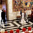 La reine Margrethe II de Danemark, le président de la République française Emmanuel Macron, le prince Frederik de Danemark, la princesse Mary de Danemark, la Première Dame française Brigitte Macron (Trogneux), le prince Joachim de Danemark, la princesse Marie de Danemark, la princesse Benedikte de Danemark - Arrivées au dîner d'Etat donné au château de Christiansborg en l'honneur de la visite du président de la République française et sa femme la Première Dame à Copenhague, Danemark, le 29 août 2018. © Dominique Jacovides/Bestimage