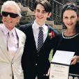 Michael Douglas et Catherine Zeta-Jones à la remise de diplôme de leur fils Dylan avec leur fille Carys. 9 juin 2018.