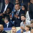 Steve Mandanda, Hugo Lloris, sa femme Marine, Noël Le Graët, président de la FFF, le président de la République Emmanuel Macron et Matt Pokora (M. Pokora) dans les tribunes lors de la Ligue des nations opposant la France aux Pays-Bas, au Stade de France, à Saint-Denis, Seine Saint-Denis, France, le 9 septembre 2018. La France a gagné 2-1. © Cyril Moreau/Bestimage