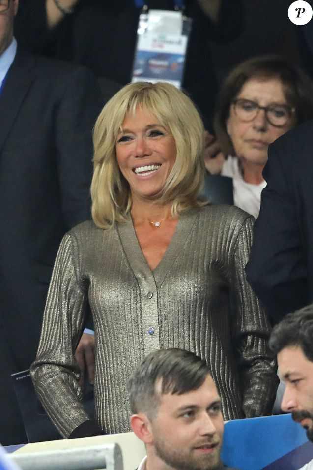 La Première Dame Brigitte Macron (Trogneux) dans les tribunes lors de la Ligue des nations opposant la France aux Pays-Bas, au Stade de France, à Saint-Denis, Seine Saint-Denis, France, le 9 septembre 2018. La France a gagné 2-1. © Cyril Moreau/Bestimage