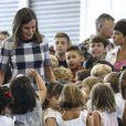 La reine Letizia d'Espagne lors du lancement de l'année scolaire 2018/2019 à Oviedo, le 12 septembre 2018.